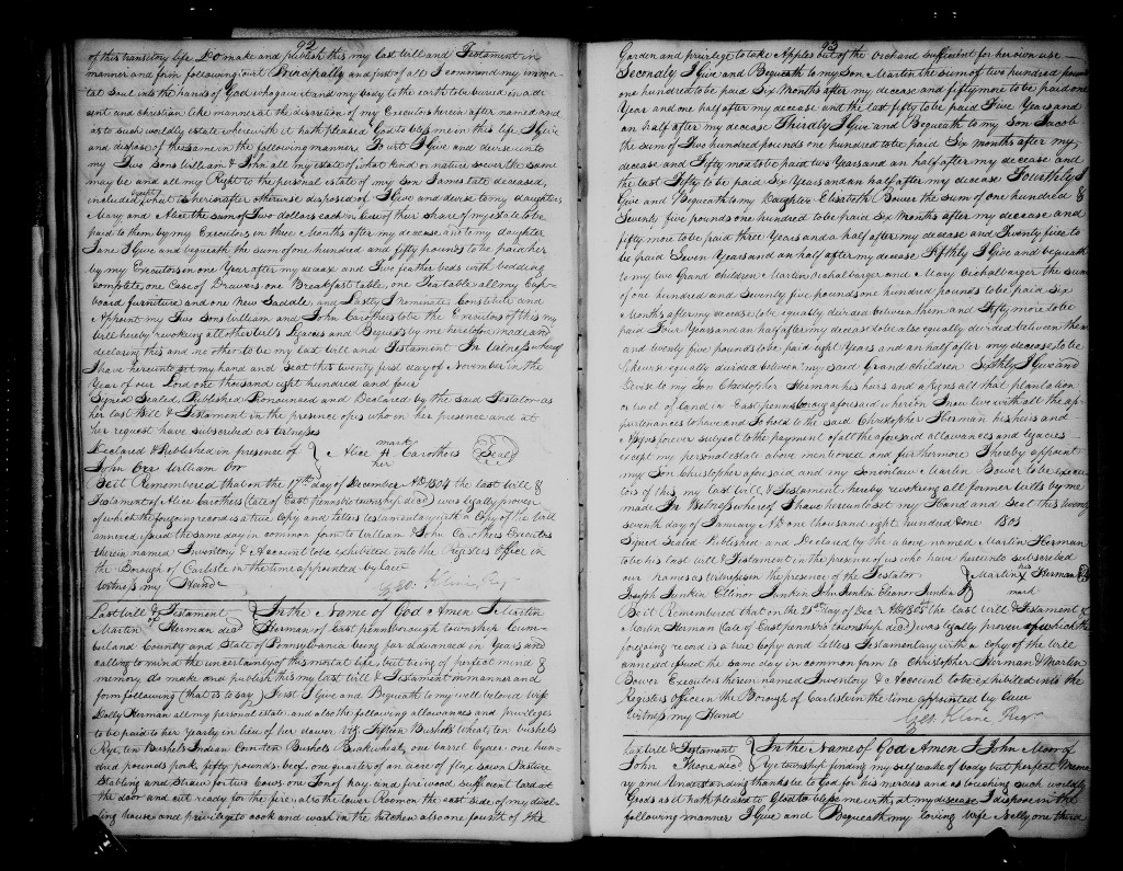 Alice Carothers (died 20th Feb 1804) - page 2 - East Pennsboro