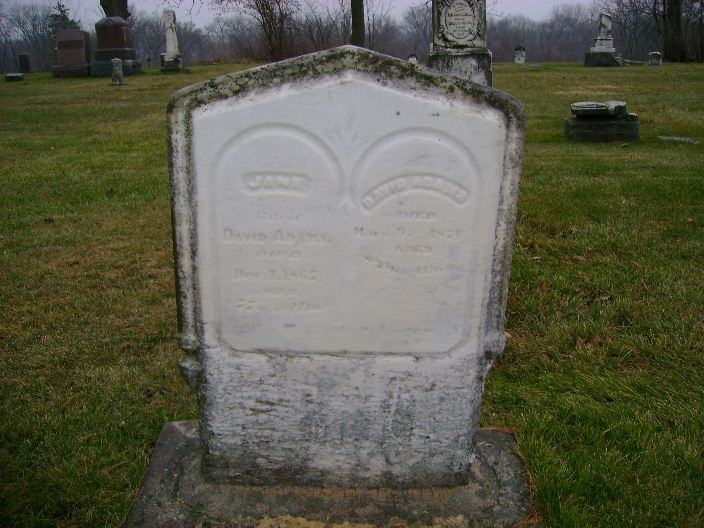 David Adams and Jane Caruthers headstone in Xenia Cemetery, Gifford, Hardin County, Iowa
