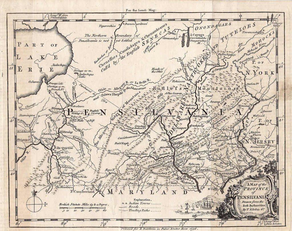 1749-1756 Map of Pennsylvania