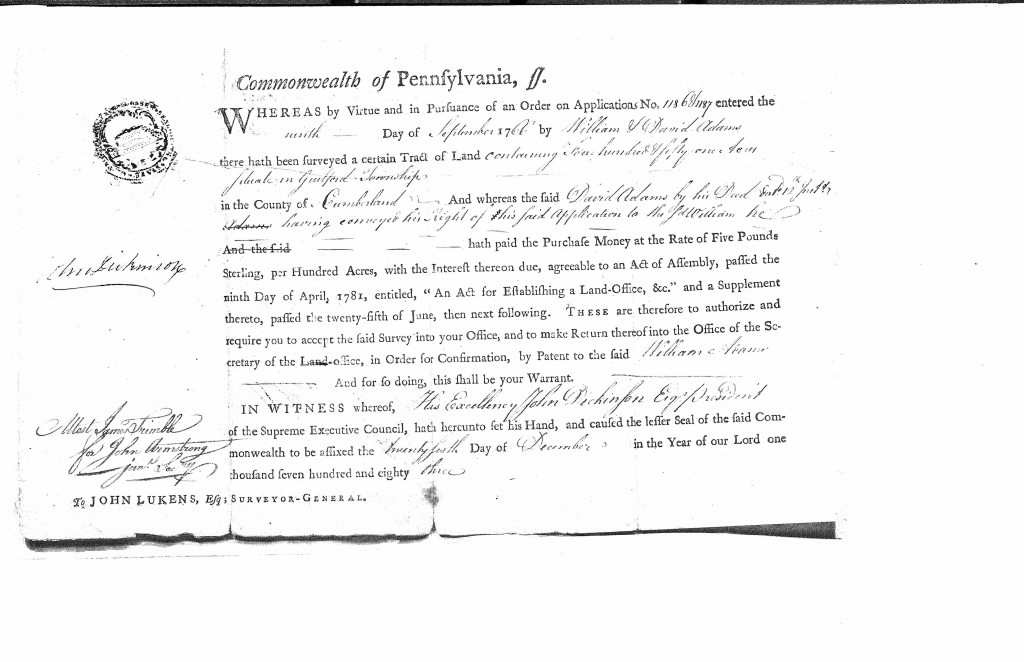 1766 - David and WIlliam Adams - 1186-1187 Guilford Land Patent Approval 26-Dec-1783