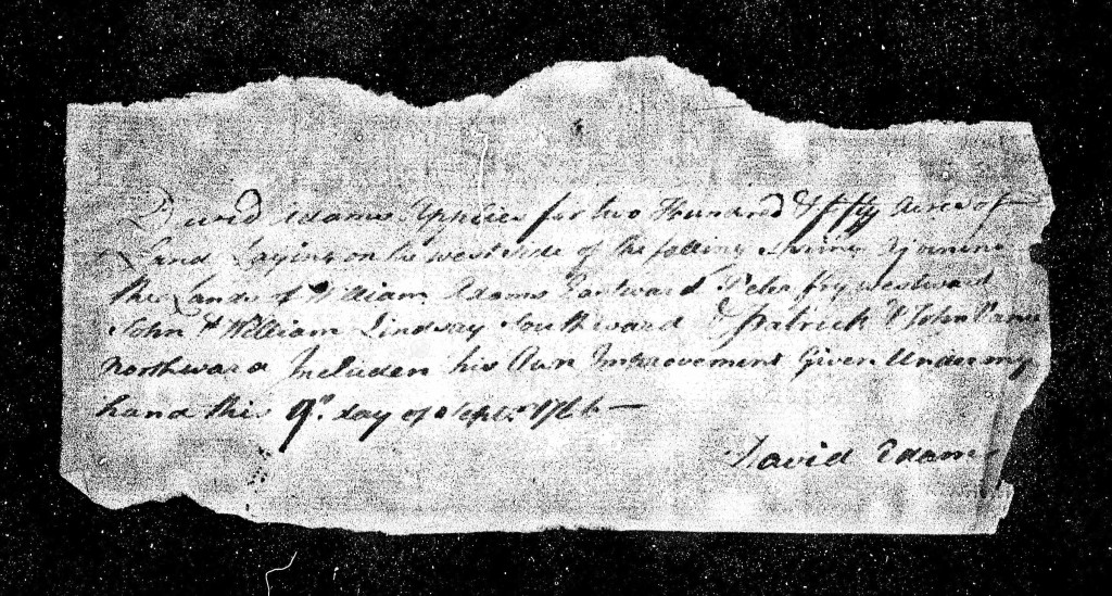 1766 Sep 9th - David Adams Land Application - Falling Springs - Cumberland County Page 2