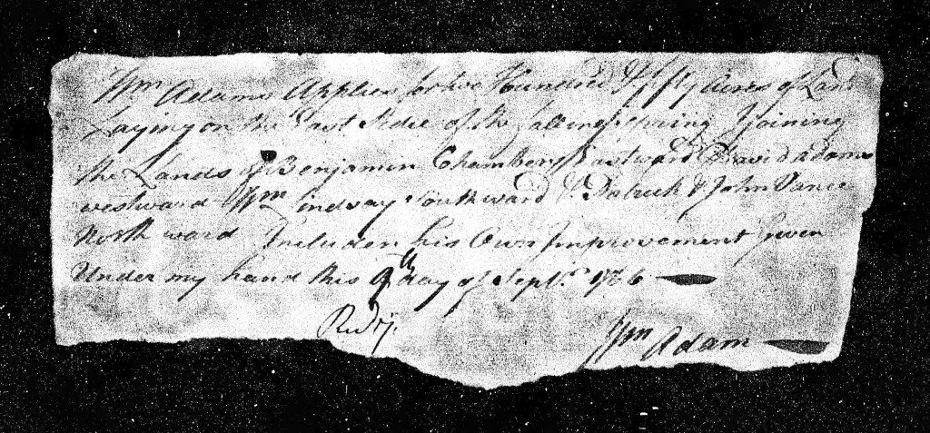 1766 Sep 9th - William Adams Land Application - Falling Springs - Cumberland County Page 2