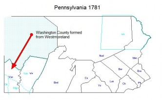 1781 - Washington County Formed from Westmoreland County PA