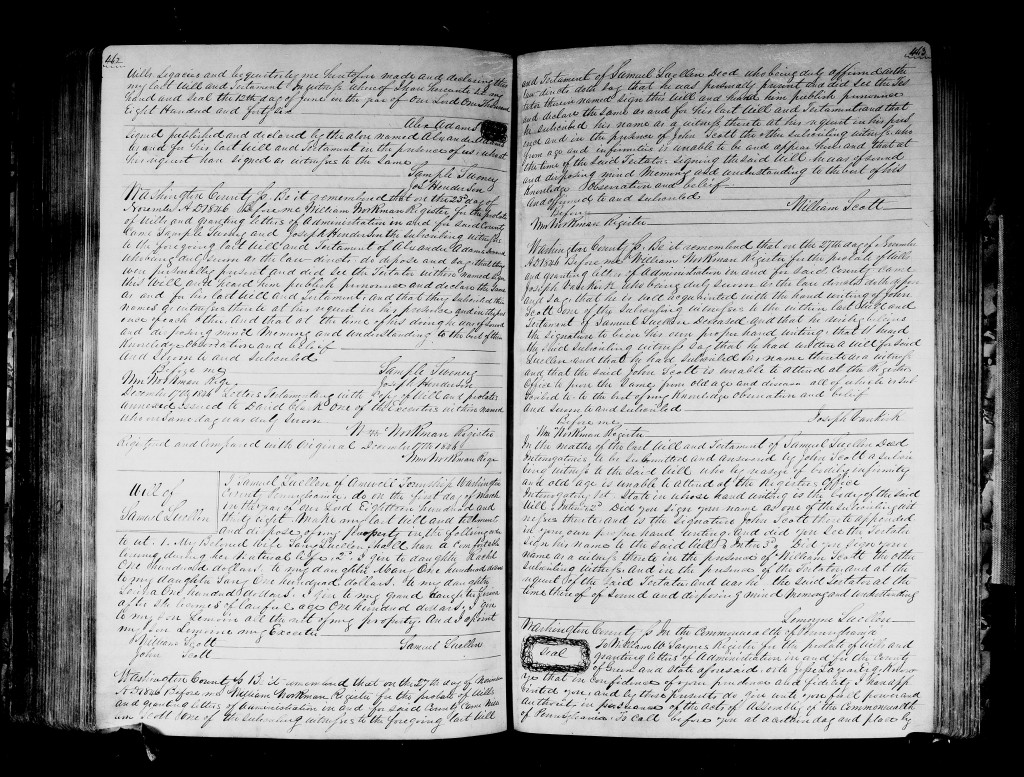 Alexander Adams - 23 Nov 1846 - Washington County - Will Page 2