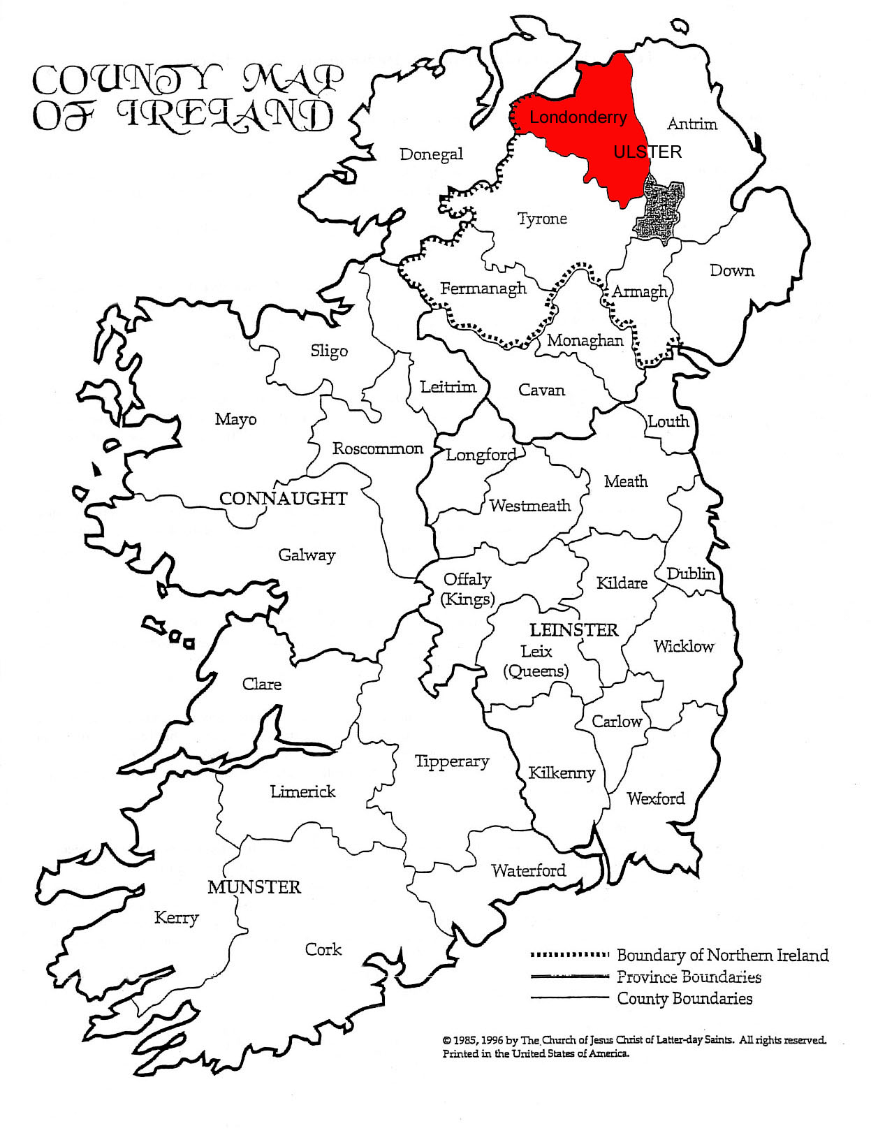 Map Of Ireland With County Borders.Parrish Of Cumber In Londonderry Ireland Adams Family Dna
