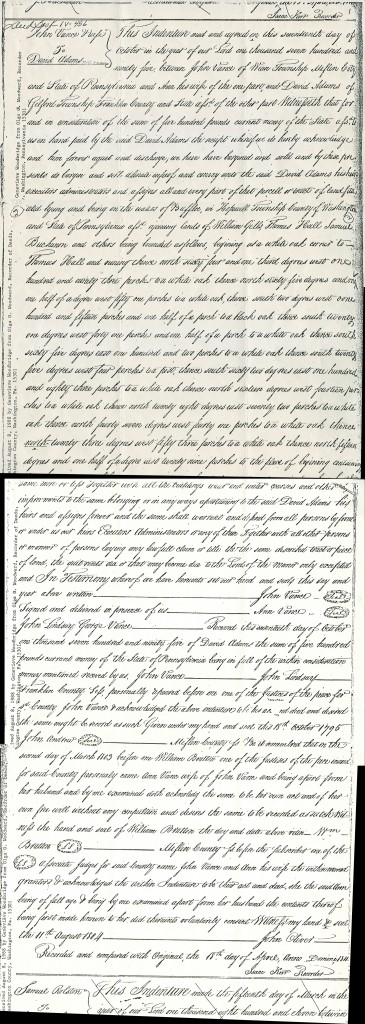 David Adams (1720-1814) Land Deed in Washington County from John Vance