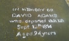 David Adams (1720-1824) - Buffalo Graveyard WV