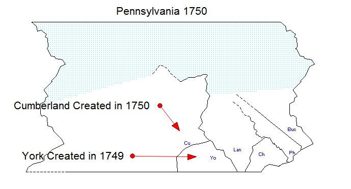 Pennsylvania Counties in 1749 and 1750