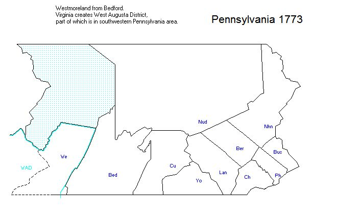 PA - 1773 Westmoreland added and West Augusta District of Virginia
