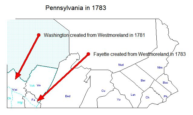 Pennsylvania in 1781 & 1783 - Washington and Fayette Created