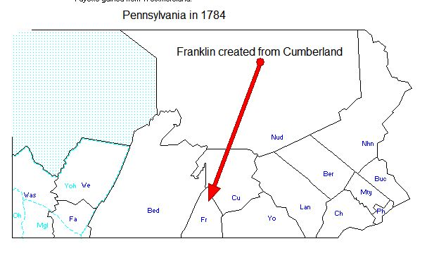 Pennsylvania in 1784 - Franklin created from CUmberland