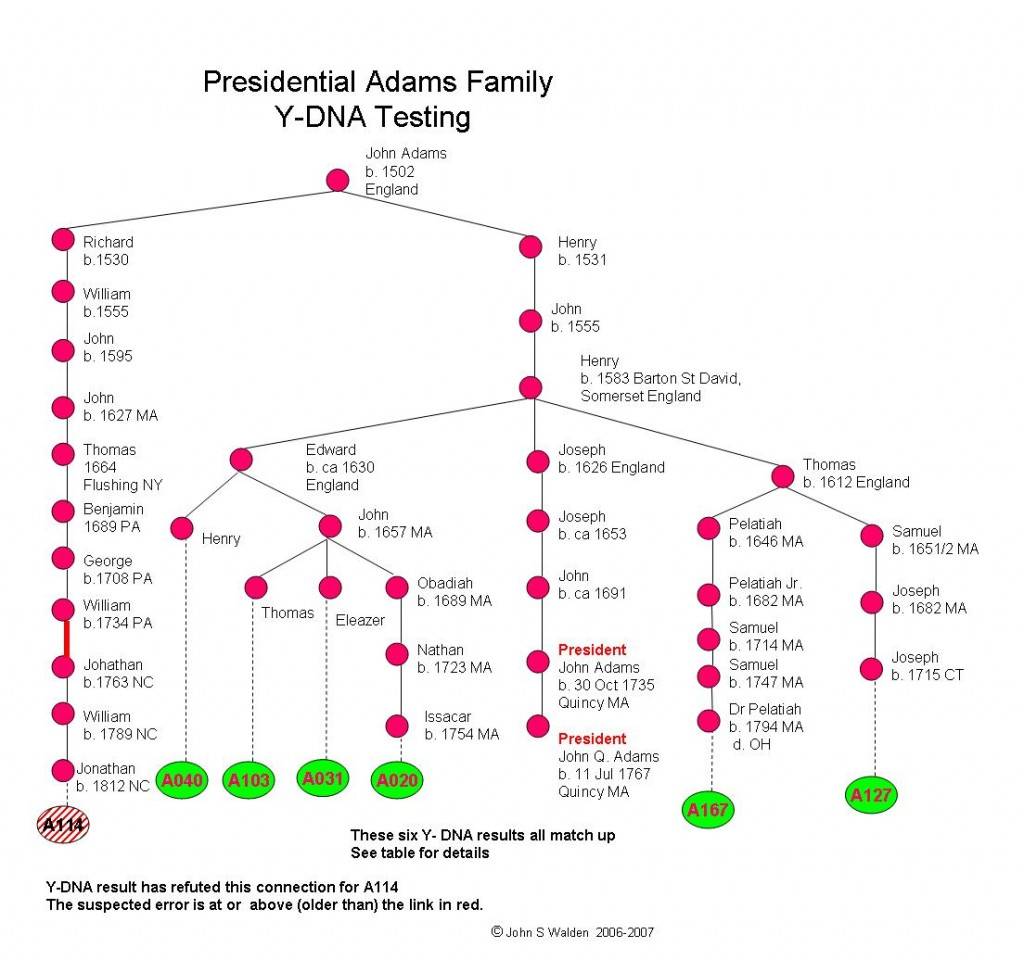 Adams DNA Testing Results - Matches to Presidental Line