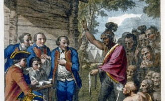 The Indians meet with Colonel Bouquet in a conference at a council fire, near his camp on the banks of Muskingum in North America in Oct. 1764.