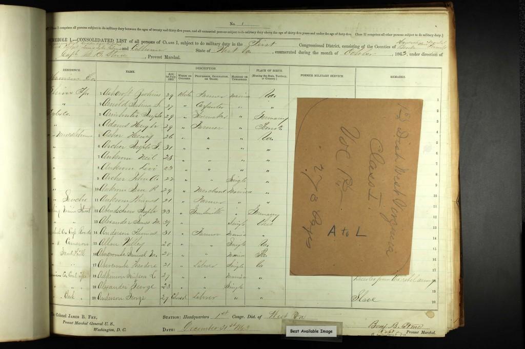 Civil War Draft Registration Oct 1863 Hugh Adams