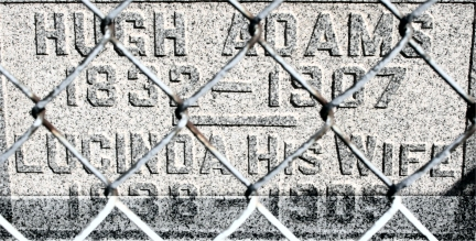Hugh Adams and Lucinda Tombstone B - Carey Cemetery, Hamilton, Indiana